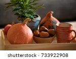 autumn mood at home. decoration ... | Shutterstock . vector #733922908