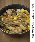 oven baked chicken drumsticks... | Shutterstock . vector #733923394