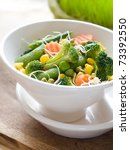 mixed  vegetables with fresh sprout in bowl Selective focus - stock photo