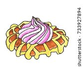 waffle on white background... | Shutterstock .eps vector #733927894