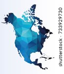 polygonal map of north america | Shutterstock .eps vector #733929730