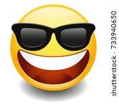 emoji laugh happy sunglasses...   Shutterstock .eps vector #733940650