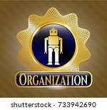 gold shiny badge with robot... | Shutterstock .eps vector #733942690