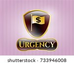 shiny badge with flag with... | Shutterstock .eps vector #733946008