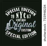 vintage  new york  typography ... | Shutterstock .eps vector #733948234