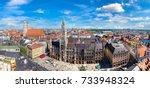 aerial view on marienplatz town ... | Shutterstock . vector #733948324