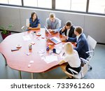 a group of office workers work... | Shutterstock . vector #733961260