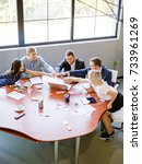 a group of office workers work... | Shutterstock . vector #733961269