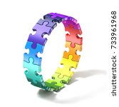 Colorful Puzzle Ring 3d Render...