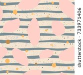 cute pattern with pink gemstone ... | Shutterstock .eps vector #733971406