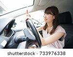 driving woman using smartphone | Shutterstock . vector #733976338