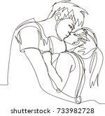kissing couple in love  black...   Shutterstock .eps vector #733982728