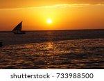 sunset over the sea zanzibar... | Shutterstock . vector #733988500