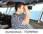 officer on the watch on bridge... | Shutterstock . vector #73398964