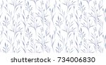 vector herbal pattern. seamless ... | Shutterstock .eps vector #734006830