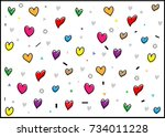 colorful heart love background... | Shutterstock .eps vector #734011228
