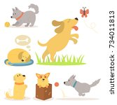 Stock vector vector illustration cute playing dogs characters funny purebred puppy comic happy mammal breed 734011813