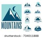 vector set of mountain... | Shutterstock .eps vector #734011888