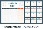 calendar for 2018 starts monday | Shutterstock .eps vector #734015914