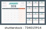 calendar for 2018 starts monday ... | Shutterstock .eps vector #734015914