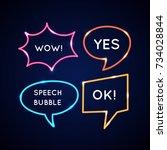 set neon speech bubbles and...   Shutterstock .eps vector #734028844