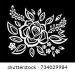 beautiful monochrome black and... | Shutterstock . vector #734029984