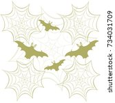 webs and bats. halloween... | Shutterstock .eps vector #734031709