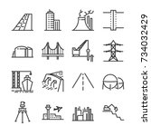 engineering line icon set.... | Shutterstock .eps vector #734032429