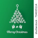 christmas greeting card with... | Shutterstock .eps vector #734035114