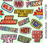 seamless pattern with slang... | Shutterstock .eps vector #734037730