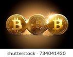 three different bitcoins as a... | Shutterstock . vector #734041420