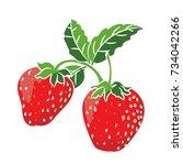 illustration strawberry... | Shutterstock .eps vector #734042266