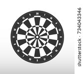 isolated darts board. vector... | Shutterstock .eps vector #734043346