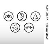 five senses icon | Shutterstock .eps vector #734043349