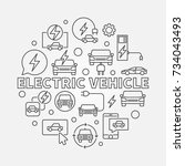 electric vehicle round... | Shutterstock .eps vector #734043493