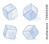 vector ice cubes isolated on... | Shutterstock .eps vector #734045200
