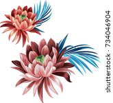 Set Of Lotus Flowers With...