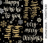 seamless xmas pattern with...   Shutterstock .eps vector #734047630