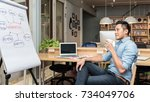 young asian entrepreneur... | Shutterstock . vector #734049706