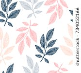 seamless pattern with branches.   Shutterstock .eps vector #734052166