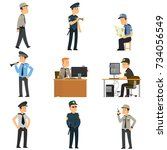 set of guards in different... | Shutterstock .eps vector #734056549