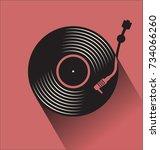 black vinyl record disc flat... | Shutterstock .eps vector #734066260