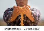 Farmer Holding Corn Grains In...
