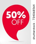 special offer sale red tag 50   | Shutterstock .eps vector #734068564