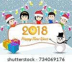 postcard happy new year 2018... | Shutterstock .eps vector #734069176