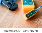 lan cable clamping and tester... | Shutterstock . vector #734070778