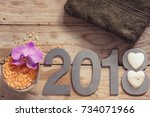 new year 2018  spa set on...   Shutterstock . vector #734071966