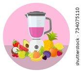 mixer with fruit flat design...   Shutterstock .eps vector #734075110