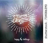 merry christmas handwritten... | Shutterstock .eps vector #734086390