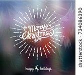 merry christmas handwritten...   Shutterstock .eps vector #734086390